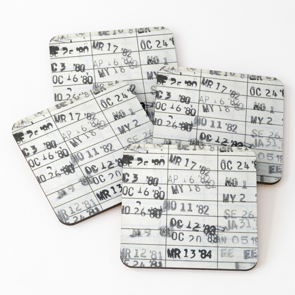 Date Due #1 Coasters (Set of 4)