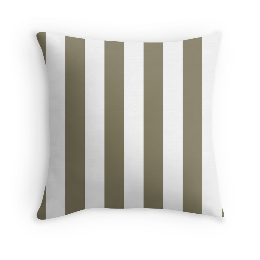 Army Brown and White Vertical Cabana Tent Stripes