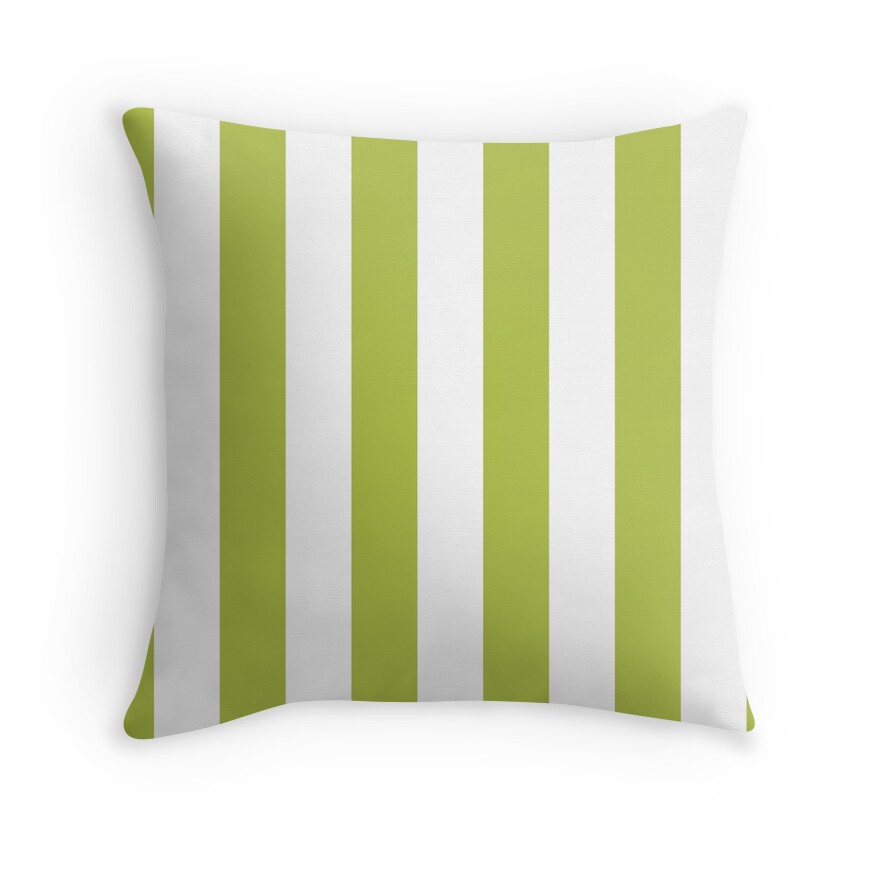 Avocado Green and White Vertical Cabana Tent Stripes