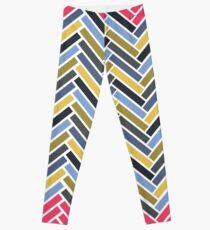 Leggings Patrón geométrico en espiga multicolor
