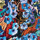 floral mottled indigo abstract art  by BBS ART