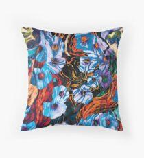 floral mottled indigo abstract art  Throw Pillow