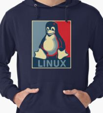 Linux tux penguin obama poster Lightweight Hoodie
