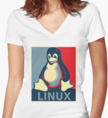 Linux tux penguin obama poster Women's Fitted V-Neck T-Shirt