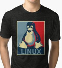 Linux tux penguin obama poster Tri-blend T-Shirt