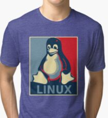 Linux tux penguin obama poster Tri-blend T-Shirt