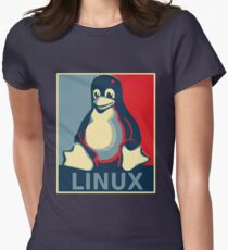 Linux tux penguin obama poster Women's Fitted T-Shirt