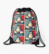 Linux tux penguin obama poster Drawstring Bag