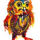 Owl 1-Watercolor by Beau Singer