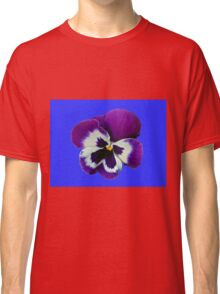 Purple and White Pansy on Blue Background Classic T-Shirt