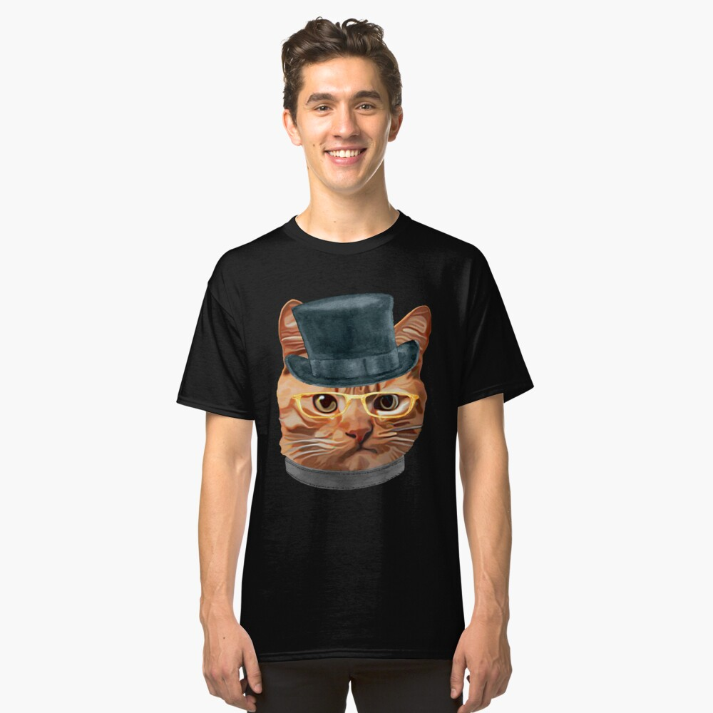 Cat Kitty Kitten In Clothes Yellow Glasses Top Hat Classic T-Shirt Front