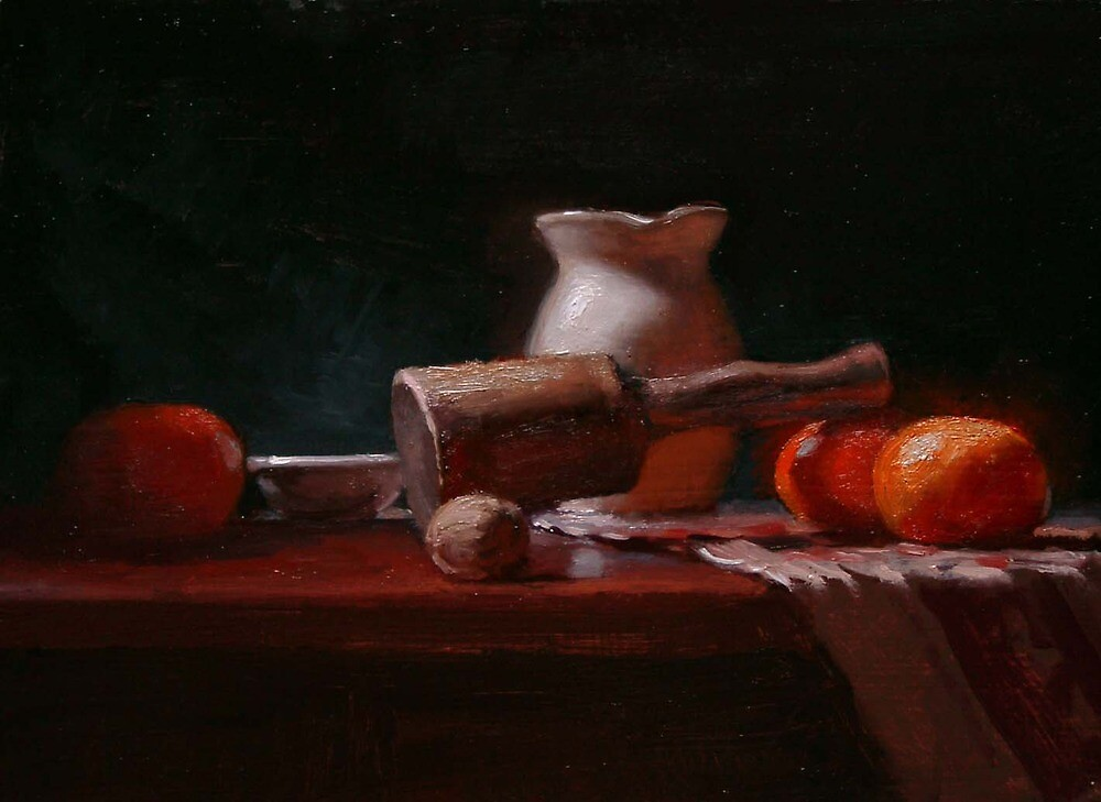 """Still-Life with oranges, a walnut, and a mallet"" by JCLambert"