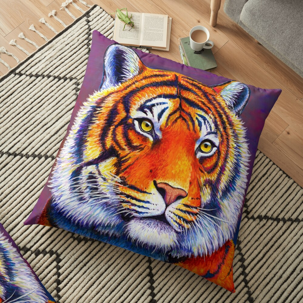 Fiery Beauty - Colorful Bengal Tiger Floor Pillow