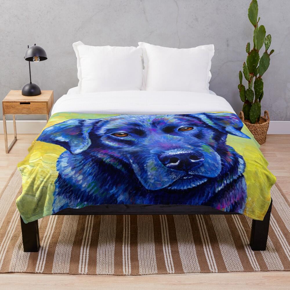 Loyal Companion -  Colorful Labrador Retriever Dog Throw Blanket