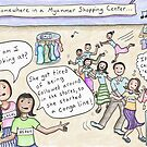 Shopping Conga Line Expat Cartoon -Yangon, Myanmar by Kristen Palana