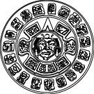 Ancient Maya Art illustration decoration pattern design abstract, ornate, monochrome, circle, retro style by znamenski