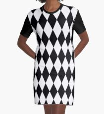 LARGE BLACK AND WHITE HARLEQUIN- DIAMOND- ARGYLE  PATTERN DESIGNED FOR HOME DECOR AND CLOTHING Graphic T-Shirt Dress