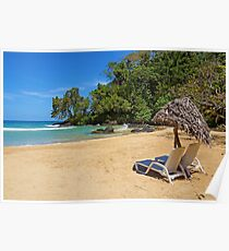 Lounge chairs with parasol on tropical beach Poster