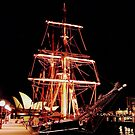 Sailing Ship illuminations Sydney Harbour by BronReid