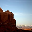 Sunset in Arches National Park with La Sal Mountains Behind by Hugh Chaffey-Millar