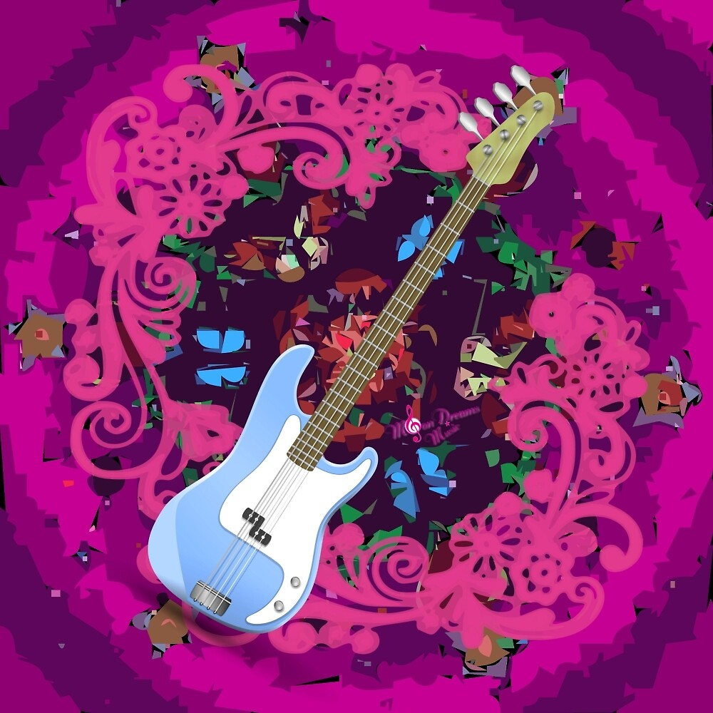 Vibrant Pink Abstract Floral Blue Bass Guitar by moondreamsmusic