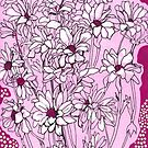 Daisy Chrysanthemum, rose pink magenta floral art by clipsocallipso