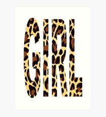 GIRL LEOPARD PATTERN Art Print