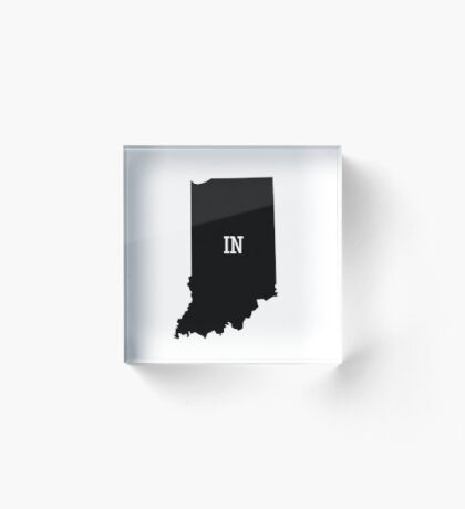 Indiana State Map Abbreviation IN Acrylic Block