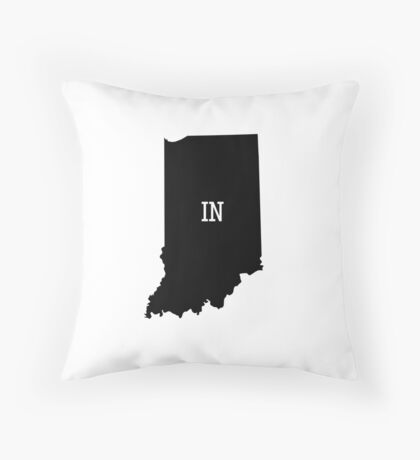 Indiana State Map Abbreviation IN Throw Pillow