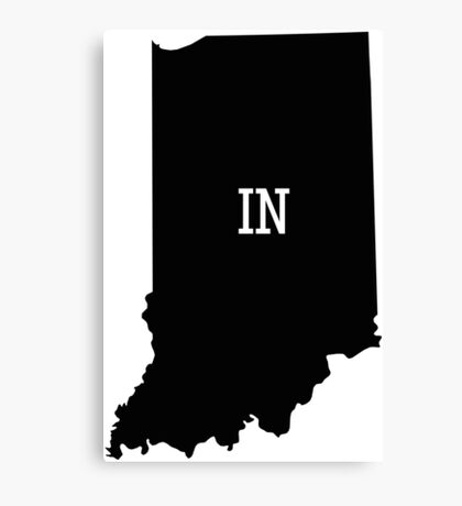 Indiana State Map Abbreviation IN Canvas Print
