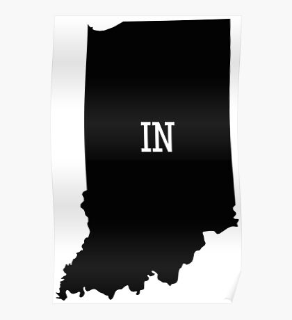 Indiana State Map Abbreviation IN Poster