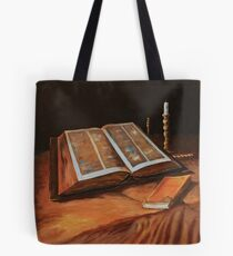 After Van Gogh: Still Life with Bible: Acrylics Tote Bag