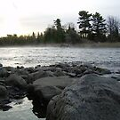 Mississippi river Dawn over the rocks by NiftyGaloot
