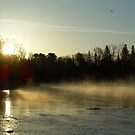 Mississippi river Dawn light rays by NiftyGaloot