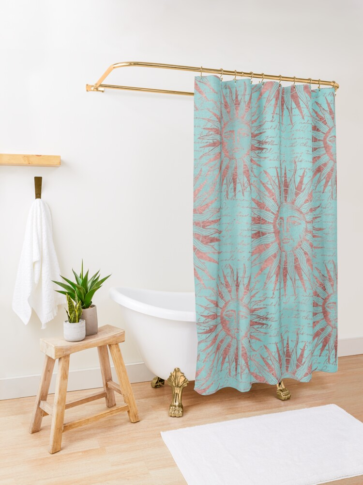 Alternate view of Ancient Sun Face Copper And Teal Shower Curtain