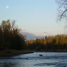 Mississippi river Moon at Dawn by NiftyGaloot