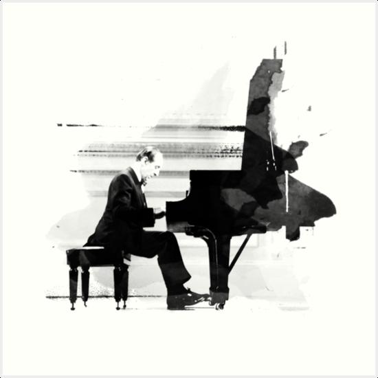 Canvas Vladimir Horowitz at Piano Practicing Art print POSTER