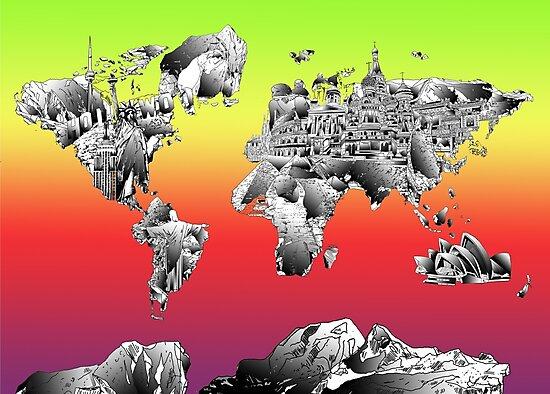 World Map landmarks 4 by BekimART