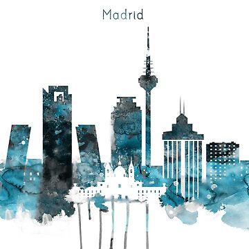 Madrid Monochrome Blue Skyline by DimDom