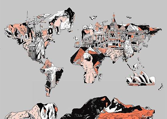 World Map landmarks 6 by BekimART