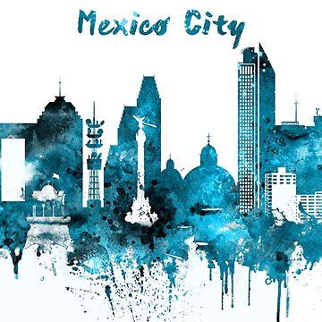 Mexico City Monochrome Blue Skyline by DimDom