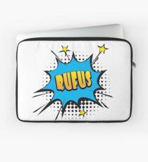 Comic book speech bubble font first name Rufus Laptop Sleeve