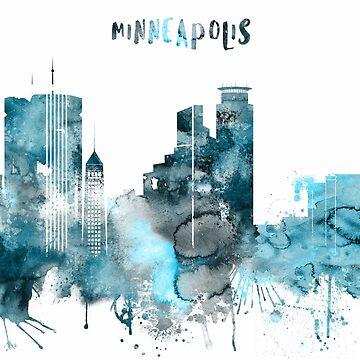 Minneapolis Monochrome Blue Skyline by DimDom