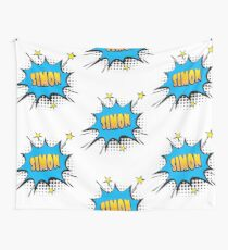 Comic book speech bubble font first name Simon Wall Tapestry