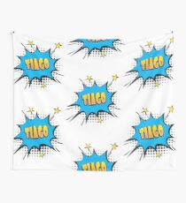 Comic book speech bubble font first name Tiago Wall Tapestry