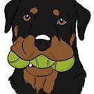 Rottweiler with Tennis Balls    by rmcbuckeye