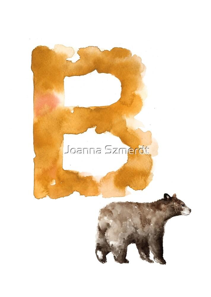 Watercolor alphabet bear poster by Joanna Szmerdt
