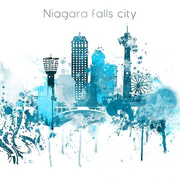 Niagara Falls Monochrome Blue Skyline by DimDom