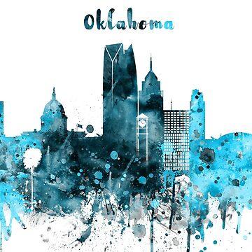 Oklahoma Monochrome Blue Skyline by DimDom