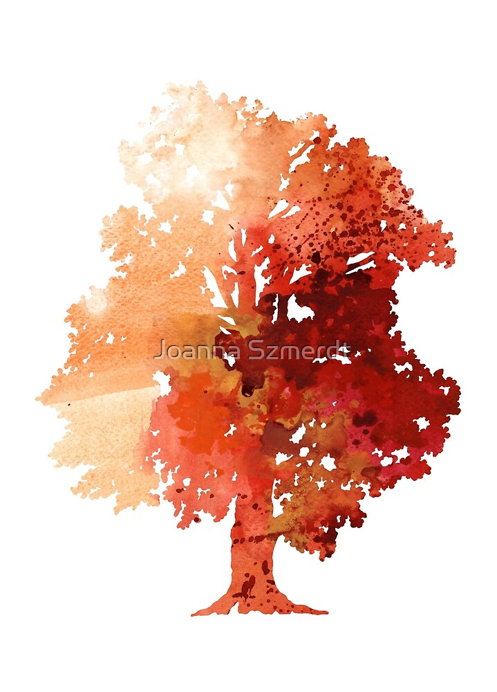 Abstract tree watercolor poster by Joanna Szmerdt